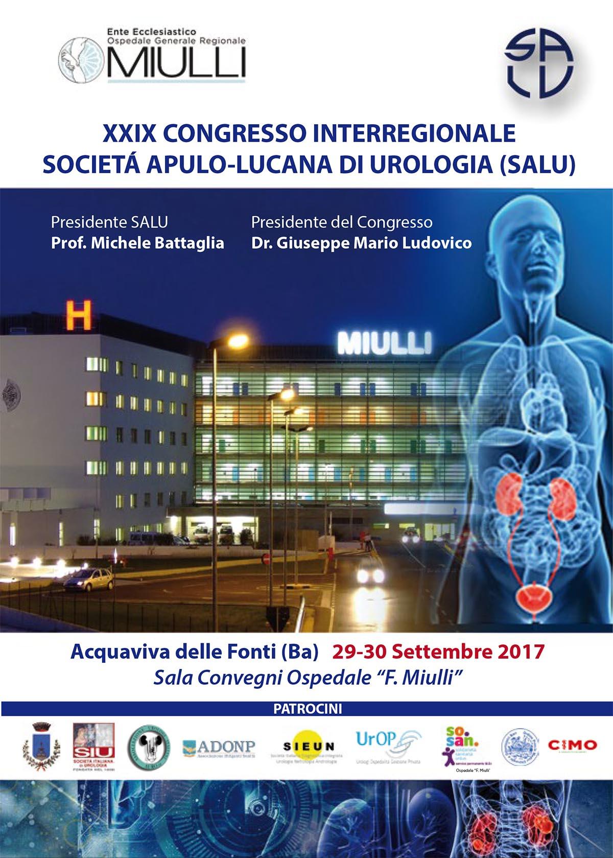 La locandina del XXIX Congresso Società Apulo-Lucana di Urologia